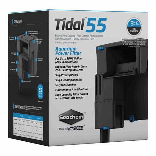 Seachem Tidal 55 Power Filter 200L 1000L/H 3+2 Year Warranty