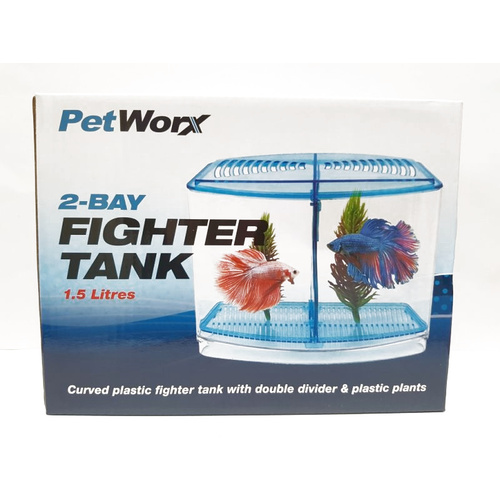 Petworx 2 Bay Fighter Tank 1.5L Fighting Fish Betta Aquarium